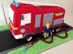 Fire truck engine birthday cake. I made this for my daughter's 3rd birthday, the instructions were really straight forward. I wouldn't call my result an exact replica but my little girl was pretty impressed.
