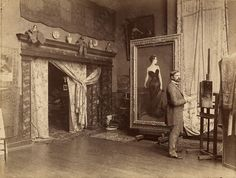 """John Singer Sargent in his studio with his painting Portrait of Madame X, black and white photographic print, 21 x 28 cm."" Paris, circa 1884"