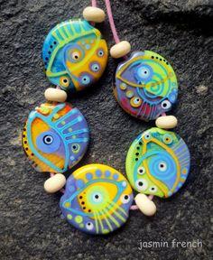 jasmin french ' xray eyes ' lampwork beads set by jasminfrench