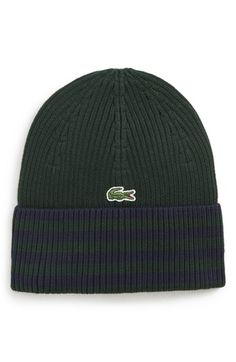 LACOSTE STRIPED BEANIE - GREEN.  lacoste Cotton Beanie 9bf3c203d65f