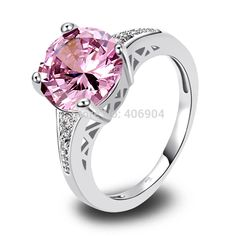 Wholesale 10*10mm Round Cut Pink Topaz & White Topaz 925 Silver Ring Size 6 7 8 9 10 11 12 Love Style Gift-in Rings from Jewelry on Aliexpress.com | Alibaba Group