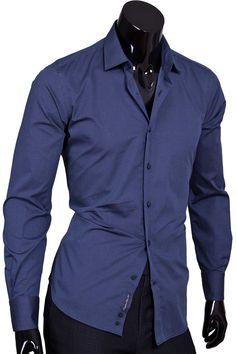 Рубашка приталенная темно синего цвета в горошек