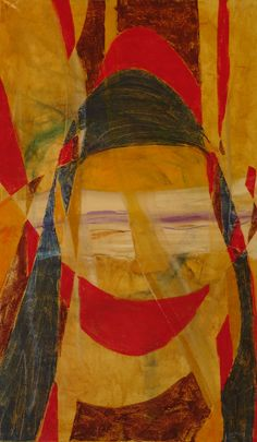 A wise sad woman behind the mask of a clown, 2012