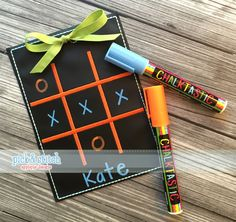 Tic Tac Toe Board Applique Design. Stitched on Chalkboard fabric. Great kids or teacher gifts. Take them to restaurants and on long car rides.