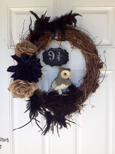 Harry Potter inspired wreath - 9 3/4 ;)  Halloween
