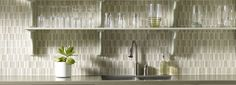 Crossville EF02 Ebb & Flow glass/stone mosaic series - available in linear, 5/8x5/8 and stacked