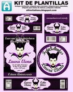 All Invitations: Kit Imprimible Malefica