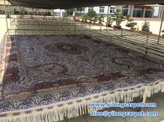 So big silk carpet ! Can you image it was knitted by workers during several months? Do you know it need to be washed after finished? It is airing after washing.