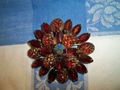 Vintage 1950s Red Marquise Golden Accented Rhinestone Brooch Aurora Borealis Center Stone