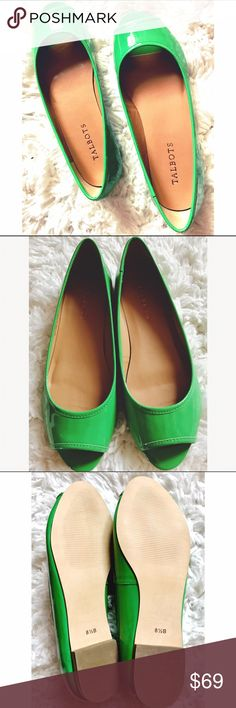 Talbots Green Flats NWOT These green open toed flats have never been worn! Patent leather appearance. Talbots Shoes Flats & Loafers