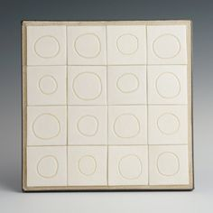 Ceramic Tile Mural Wall Hanging with Circles Framed by AlmaArtisan