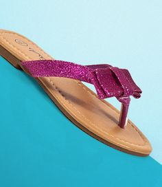 Purple Bow Flip Flops