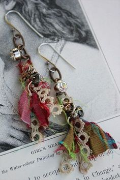 prayer flag earrings-handmade jewelry (Love the rhinestone buttons attached near the top.) pretty cloth ...