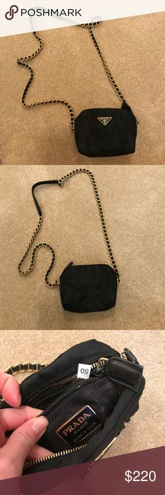 Authentic Prada crossbody Beautiful authentic crossbody. Gold and leather chain with normal preloved wear. Slight fading on a couple areas of nylon but in good shape and lots of life. Zippers work well bag just isn't as vibrant as it was brand new! Would keep but my iPhone 7+ barely fits I need to take the cover off so it's just a teensy bit small for me. Prada Bags Crossbody Bags