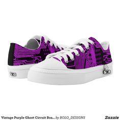Vintage Purple Ghost Circuit Board Design Zipz Printed Shoes