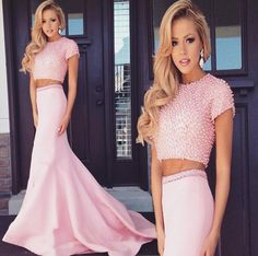 Pale Pink Two Piece Grad Dress