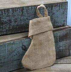 rustic natural burlap stocking 6x5