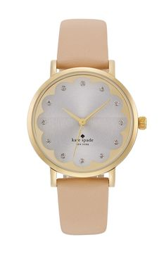 'metro' scallop dial leather strap watch, 34mm