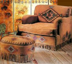 Hand painted deerskin chair & ottoman from thezonacollection… - Western Home Decor Living Room Southwestern Chairs, Southwestern Home, Southwestern Decorating, Southwest Decor, Southwest Style, Western Furniture, Rustic Furniture, Native American Decor, Ranch Decor