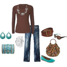 fall outfit: brown and aqua, created by schatzibags on Polyvore