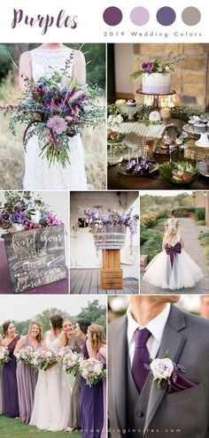 shades of purples and grey country wedding color inspiration wedding colors Top 10 Wedding Color Trends We Expect to See in 2019 & 2020 (parte-one) Country Wedding Colors, Gray Wedding Colors, Summer Wedding Colors, Wedding Color Schemes, Wedding Ideas Purple, Lavender Wedding Theme, Rustic Purple Wedding, Summer Colors, Trendy Wedding