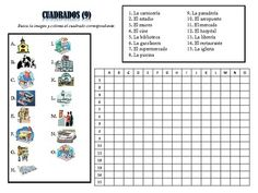 12 Spanish City Place Vocabulary Puzzles; Lots of Uses