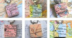 Scrabble tile maps - I could do this for places I've been on my big trips - necklace, bracelet, etc.