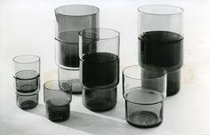 saara hopea, stackable drinking glasses, 1951-52, Nuutajärvi Glassworks.