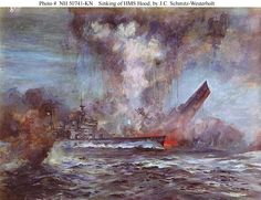 Sinking of HMS Hood by the Bismarck. Only three people from a crew of 1,418 survived the sinking. Following this Winston Churchill issued the order to sink the Bismark whatever the cost might be. rjp