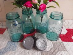 4 Vintage Aqua Blue Quart Sized Ball Perfect Mason Jars with Zinc Lids (36.00 USD) by CatfishJarRescue