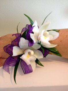 2 White Cymbidium Orchids with Purple Accents