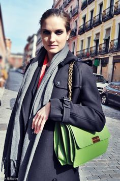Street style: Madrid, like the green here on black and gray