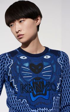 Knit Tiger sweater, NAVY BLUE, KENZO