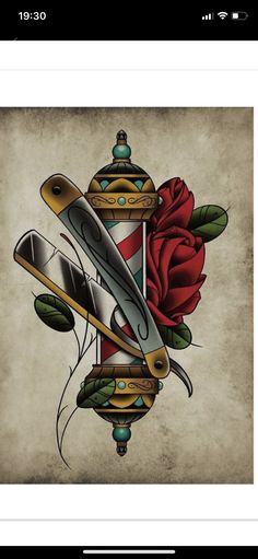 Neo Traditional Roses, Traditional Rose Tattoos, Traditional Tattoo Flash, Barber Tattoo, Barber Logo, Shaved Hair Cuts, Barber Shop Decor, Back Of Neck Tattoo, Tatuagem Old School
