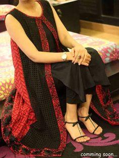 Red black kurti@vedika gajjar