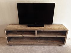 solid reclaimed wood media entertainment tv console by KaseCustom