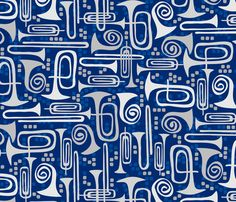 Marching Band Instruments fabric by jillodesigns on Spoonflower - custom fabric