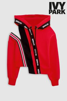Buy Ivy Park Red Asymmetric Hoody from the Next UK online shop Street Chic, Street Wear, Ivy Park Beyonce, Ivy Park Hoodie, Summer Outfits, Cute Outfits, Red Hoodie, Sport Chic, Sport Wear