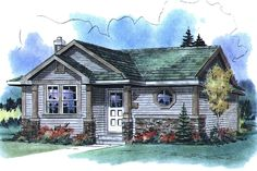 House Plan 18-1049.  1 bed 1 bath small home floor plan
