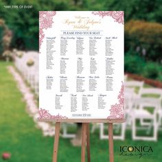 Bridal shower seating chart board floral pink gold for Bridal shower seating chart template