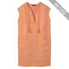 Violeta by Mango Linen Dress , Pastel Orange