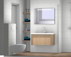 Ontwerp met nis voor de kleine badkamer.