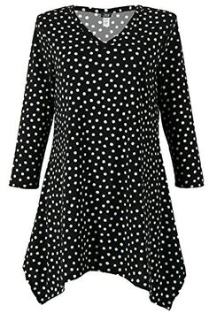 Jostar Womens HIT VNeck Binding Top Three Quarter Sleeve Print Large Black Dots *** Find out more about the great product at the image link.