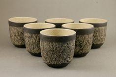 Handmade ceramic cups, set of 6, wheel thrown, creamy dotted stoneware, transparent glaze, black slip, ornament, wedding gift, wine cups