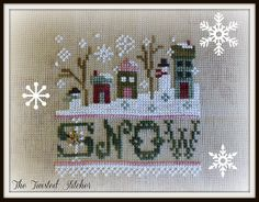 Lizzie Kate A Little Snow by The Twisted Stitcher Cross Stitch Christmas Ornaments, Xmas Cross Stitch, Cross Stitch Love, Cross Stitch Pictures, Christmas Embroidery, Noel Christmas, Cross Stitch Charts, Cross Stitch Designs, Cross Stitching