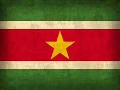 Suriname Flag Vintage Distressed Finish