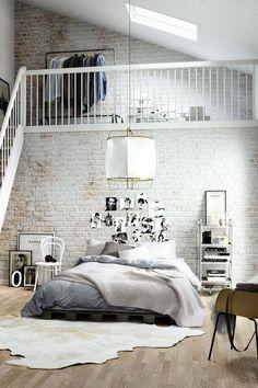 White bricks industrial bedroom