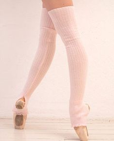 Long Ribbed Legwarmers Pale Pink