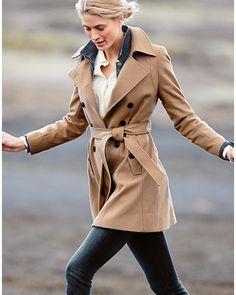 A double-breasted camel coat is a classic — but we love it even more with a bit of retro-modern romance (cue Casablanca). A great topper for jeans or something far dressier, this coat is made to flatter with curved seaming details down the front and along the cuffs.