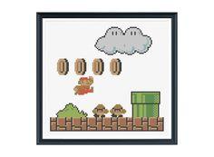 Retro Super Mario Cross Stitch Pattern PDF. $6.00, via Etsy.